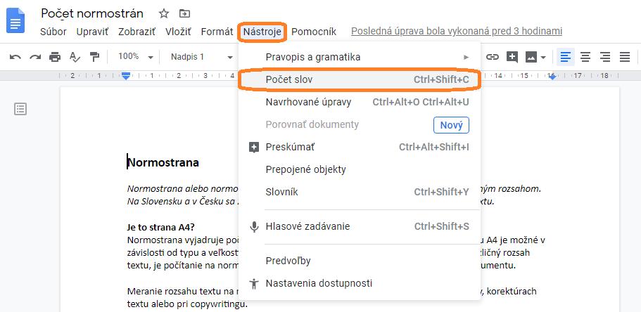 Počet slov a znakov v Google docs