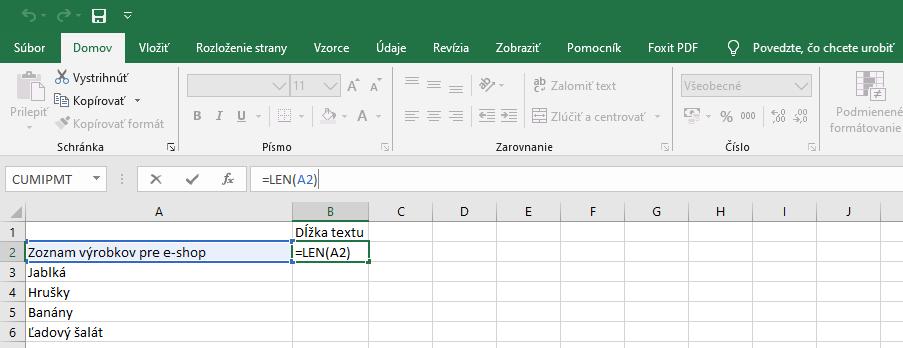 Počet znakov funkcia Excel