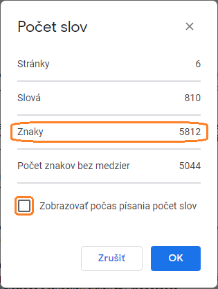 Počet znakov v Google docs