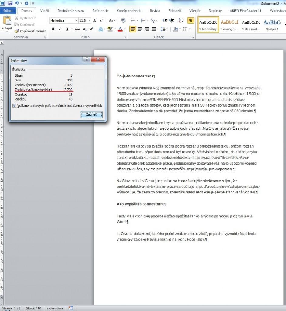 MS Word - počet normostrán