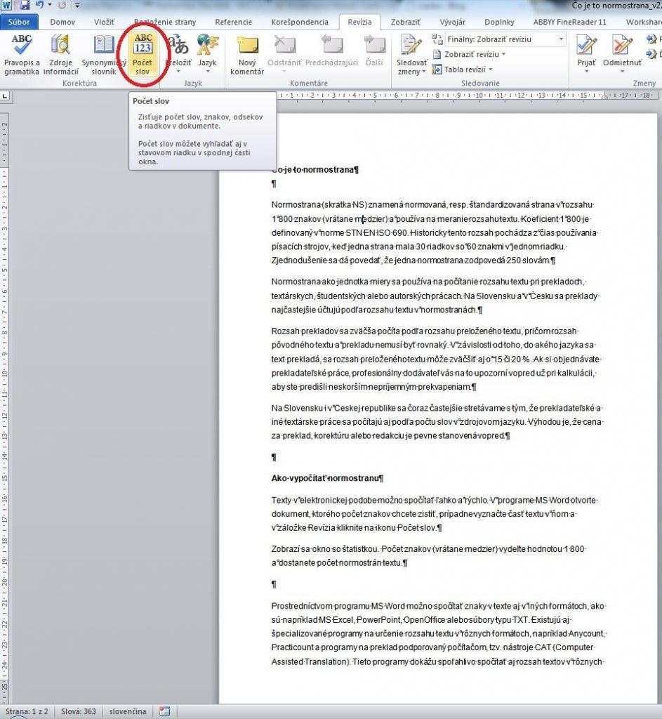 Počet normostrán (slov) v programe MS Word