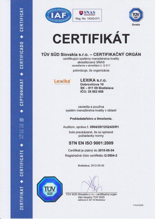 Certifikát od inšpekcie TÜV SÜD
