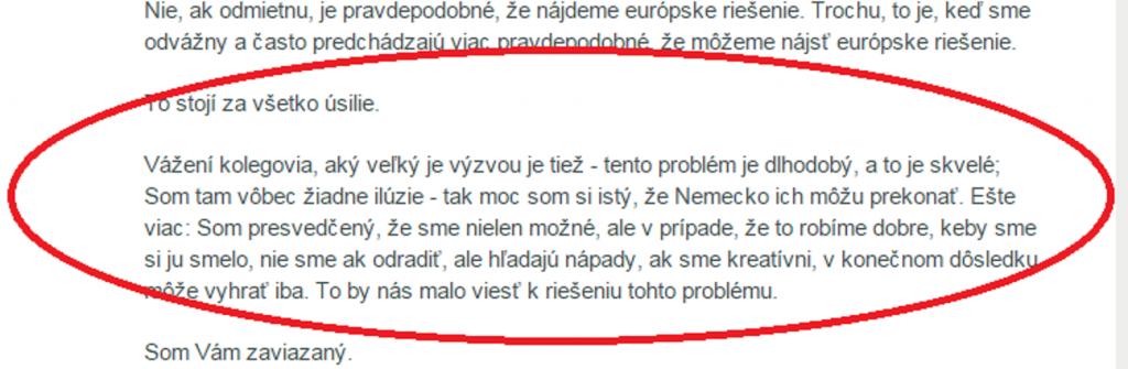 Google prekladu prejavu Angely Merkel do slovenčiny