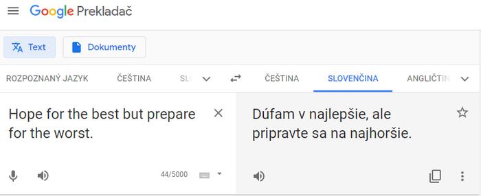 ukážka prekladu z google prekladača