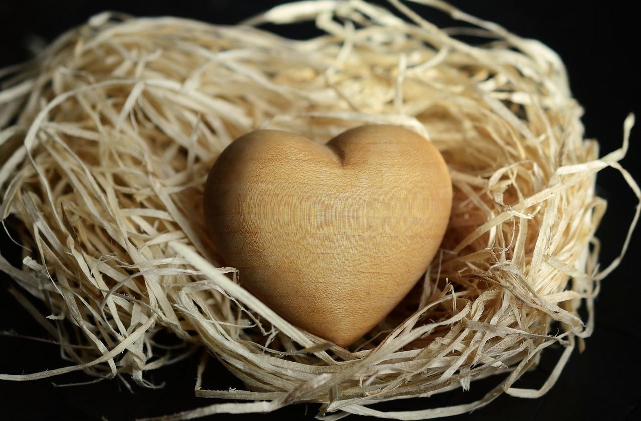 Srdiečko z dreva na slame