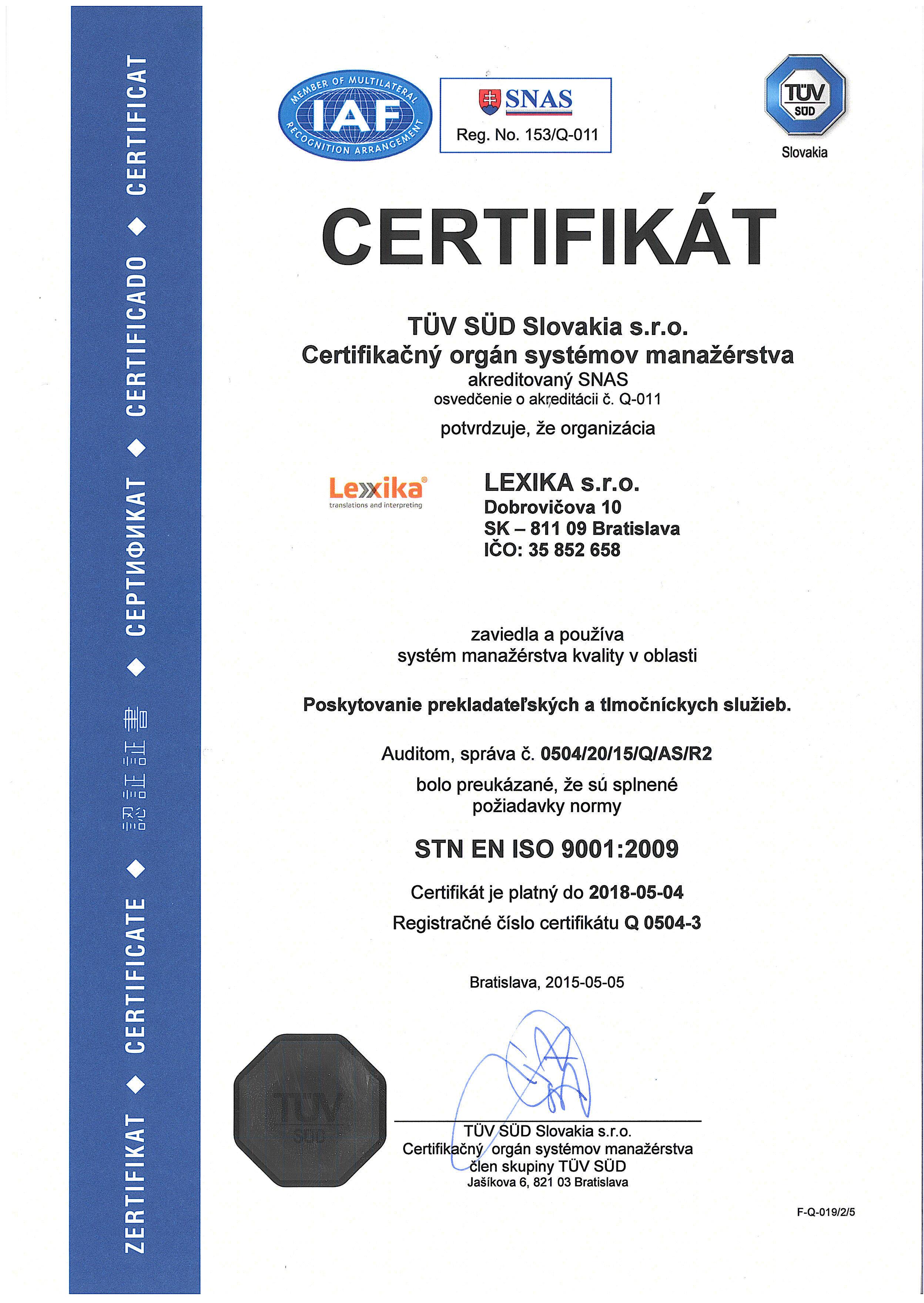 ISO 9001:2008 certifikát spoločnosti LEXIKA s.r.o.