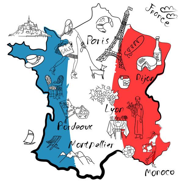 Francúzsko mapa vo národných farbách