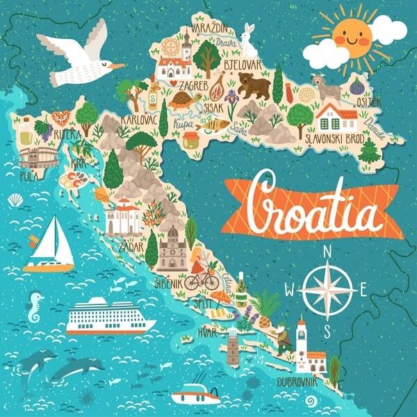 mapa Chorvátska