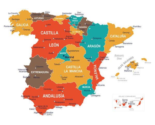 Španielsko mapa provincií