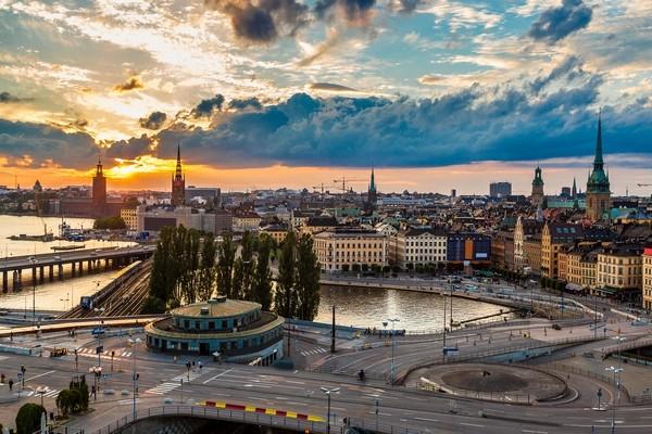 Štokholm pri západe slnka
