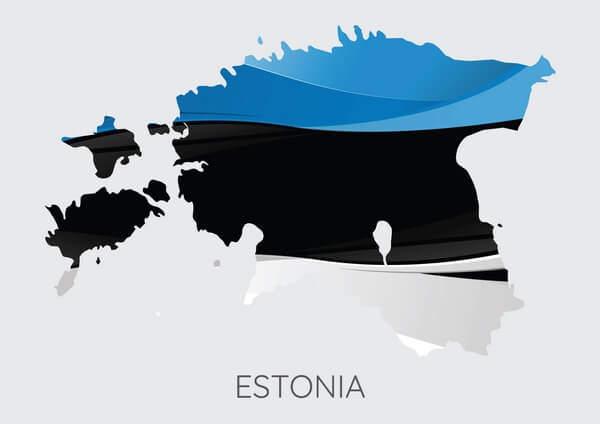 Estónska vlajka, mapa Estónska