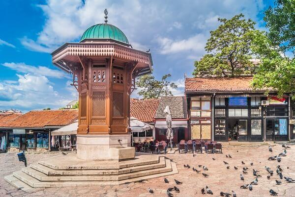 Fontána v centre Sarajeva