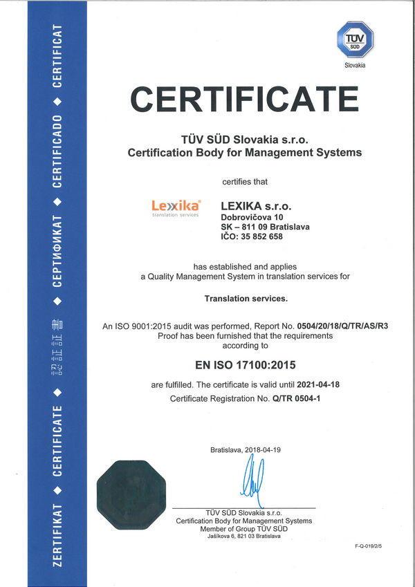 ISO 17100 certificate Lexika