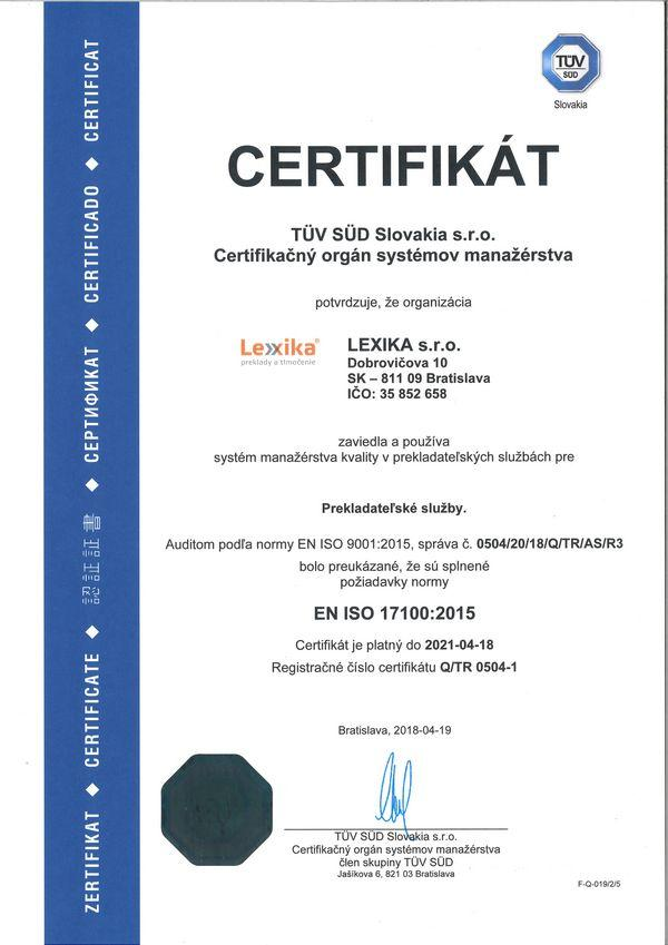 ISO 17100 certifikát Lexika