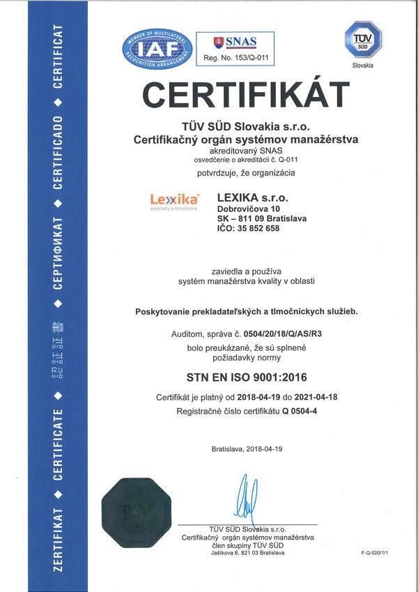 ISO 9001 certifikát kvality