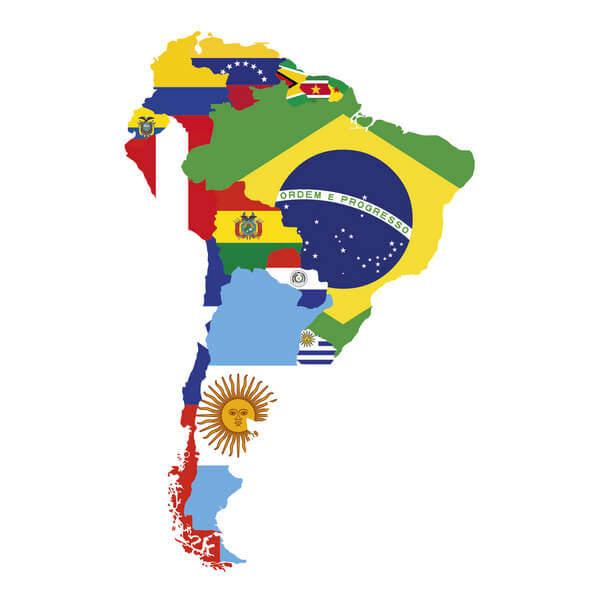 Južná Amerika mapa s obrazmi vlajok