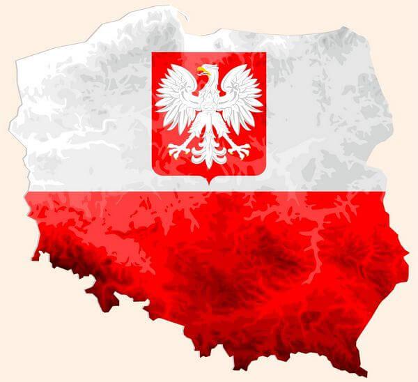 Mapa Poľska so znakom