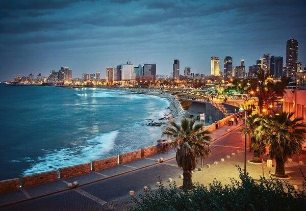 mesto Tel Aviv, západ slnka