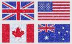 Vlajky Veľkej Británie, USA, Kanady a Austrálie