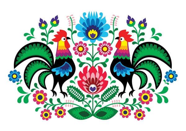polsky folklorny vzor - kohút s kvetmi