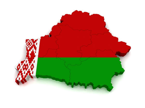 mapa Bieloruska na bielom pozadí