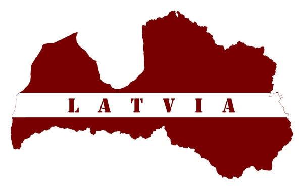 mapa vo farbách Lotyšska