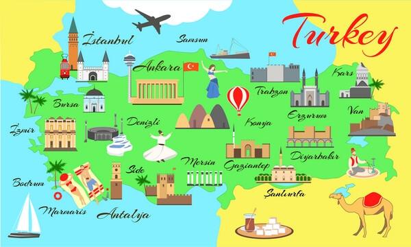 farebná mapa Turecka s pamiatkami