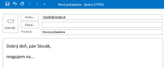 Príklad oslovenia v emaile