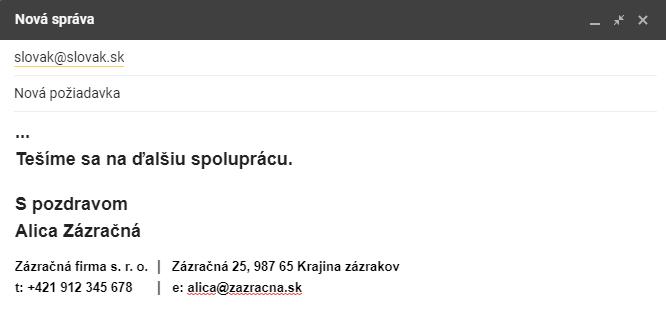 príklad ukončenia emailu