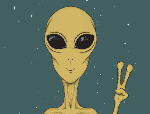 Kreslená tvár mimozemšťana