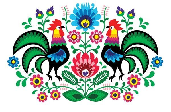 Rooster with flowers - traditional Polish folk pattern