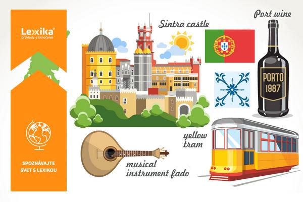 Sintra, žltá električka, portské, portugalská vlajka