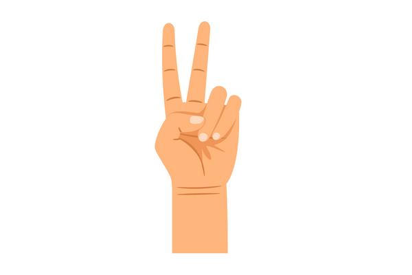 Prsty v tvare V dlaň k telu