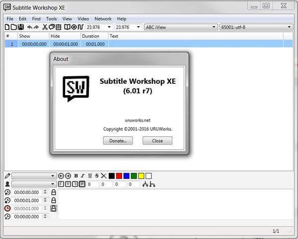 Titulkovací nástroj Subtitle Workshop - screenshot
