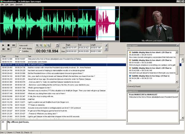Titulkovací nástroj Visual sub sync - screenshot