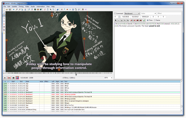 Titulkovací nástroj Aegisub - screenshot