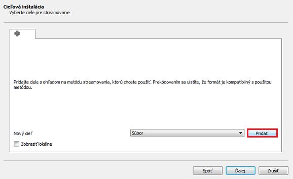 Cieľová inštalácia VLC MediaPlayer
