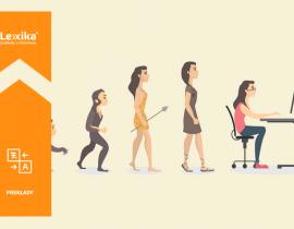 evolučný vývoj pravekej ženy k žene sediacej za počítačom