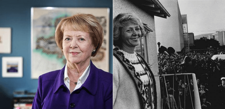 fotografia islandskej prezidentky v súčastnosti a v minulosti