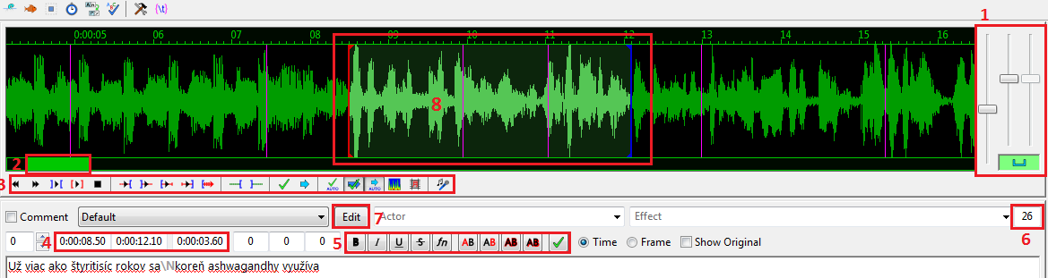 Aegisub_funkcie editoru textu a zvuku