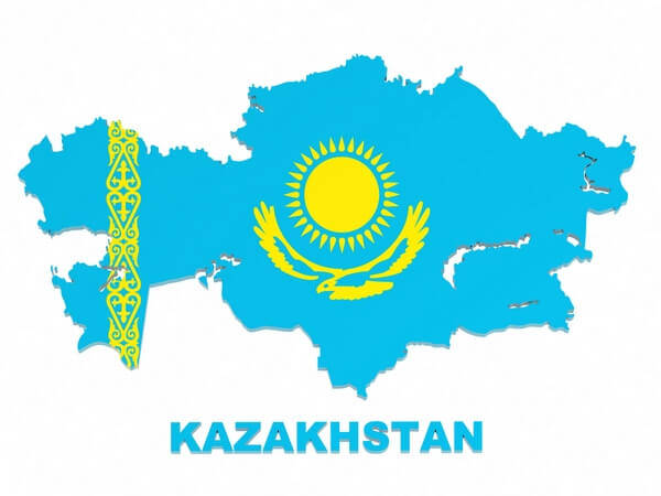 mapa kazachstanu vo farbách vlajky_the map of kazakhstan in blue and yellow
