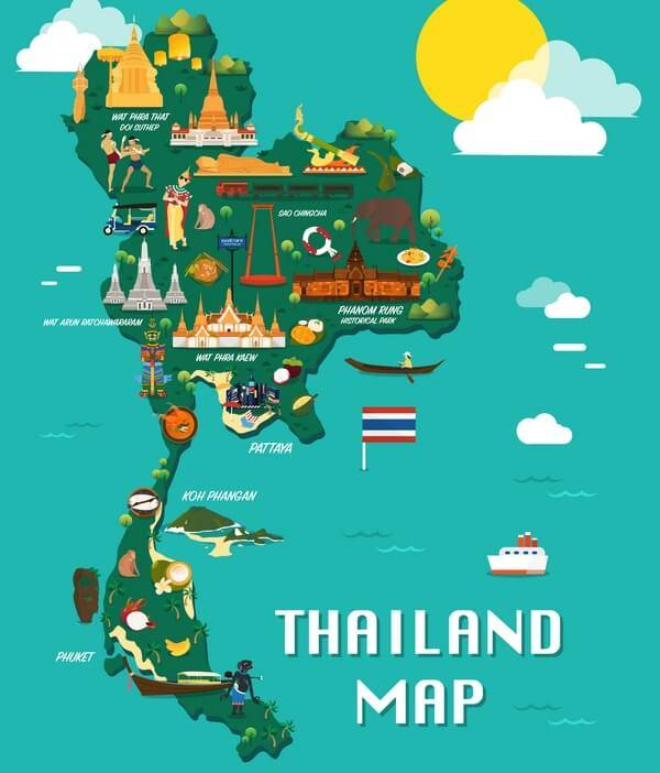 kreslená mapa Thajska_illistrated map of Thailand
