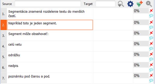 ukážka segmentácie v prekladateľskom softvéri