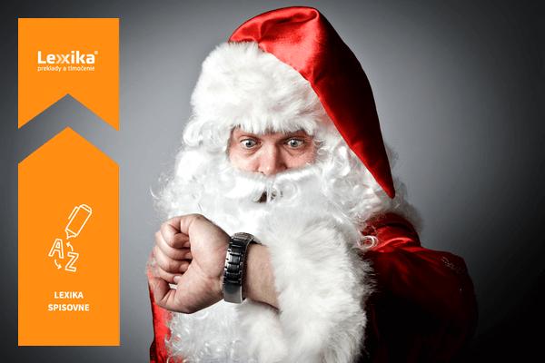 Santa Claus pozerajúci sa na hodinky
