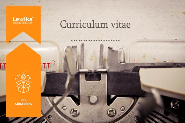 Curriculum Vitae napísané na stroji