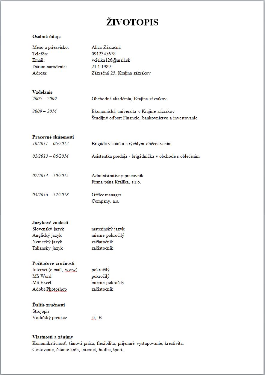 Príklad obyčajného CV
