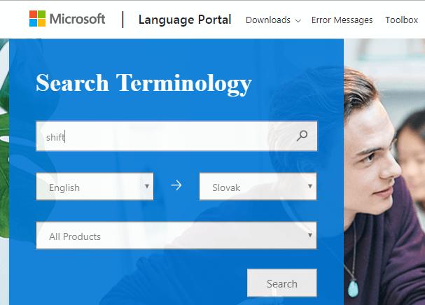 ukážka Slovník Microsoft