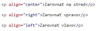 zarovnanie textu v HTML
