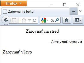ukážka zarovnania textu v HTML