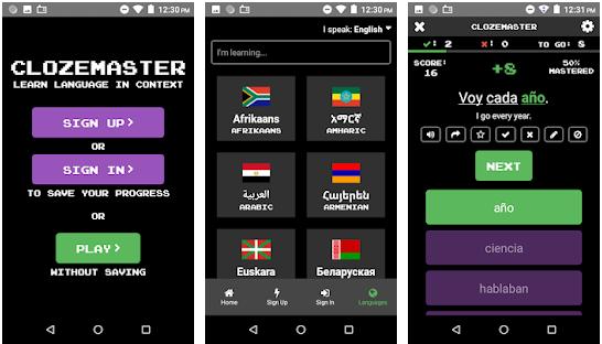 Aplikácia na učenie sa jazykov Clozemaster